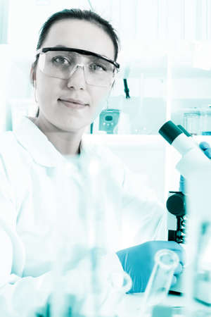Laboratory assistant in the laboratory of of food quality photo