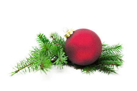 Christmas ball and green spruce branch on white  photo