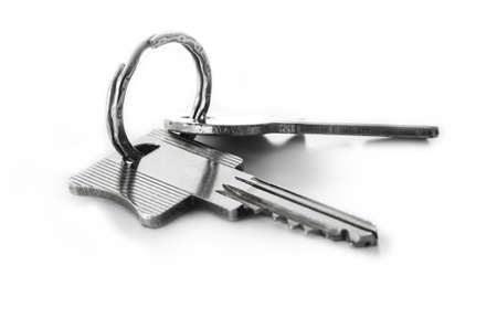Door keys isolated on white background photo