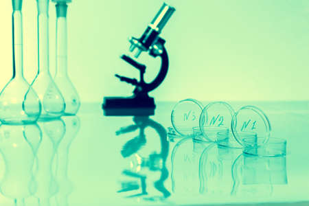 Laboratory microscope lens. microscopes in a lab.
