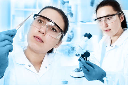 genetically modified crops: woman laboratory assistant in the laboratory of food quality Stock Photo