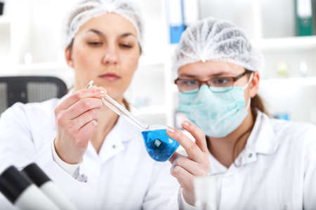 group of the students working at the laboratory.