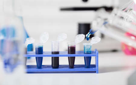 DNA samples are loaded  plate for PCR analysis. Stock Photo