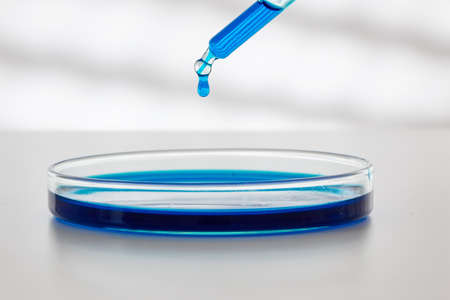 Pipette with drop of color liquid and petri dishes.