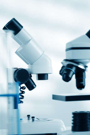 cancer research: Laboratory microscope lens.modern microscopes in a lab Stock Photo