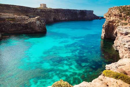 blue lagoon: The Blue Lagoon on Comino Island, Malta Gozo.