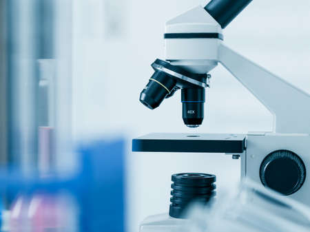 lab test: Laboratory microscope lens.modern microscopes in a lab Stock Photo
