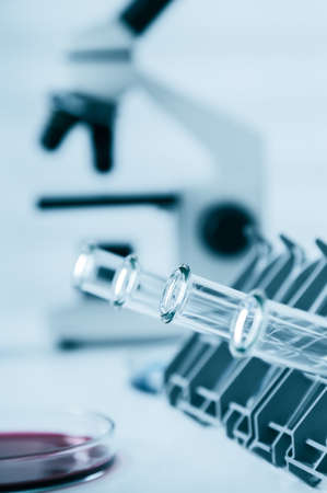 material de vidrio: Test tubes closeup.medical glassware.