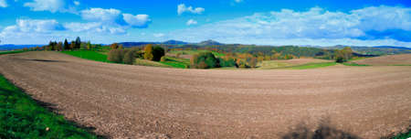 foothill: Panorama of foothill valley in the autumn.Saxon Switzerland, Germany.Toned image.