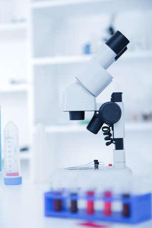 coronavirus: Laboratory microscope lens.modern microscopes in a lab.toned image.