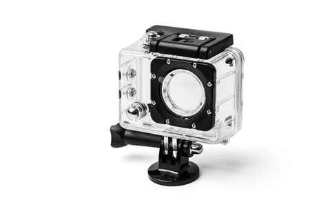 cam gear: Frontside of Action Camera Waterproof Case on white .Action camera with case on white background.