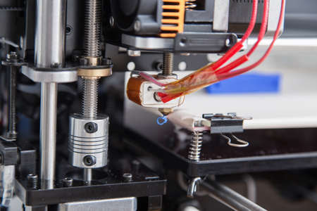 3d printer: Electronic three dimensional plastic printer during work , 3D printer, 3D printing Stock Photo