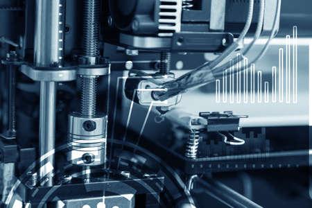 Electronic three dimensional plastic printer during work , 3D printer, 3D printing Archivio Fotografico