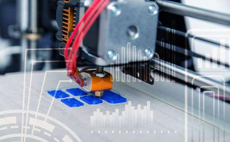 Electronic three dimensional plastic printer during work , 3D printer, 3D printing Stock Photo