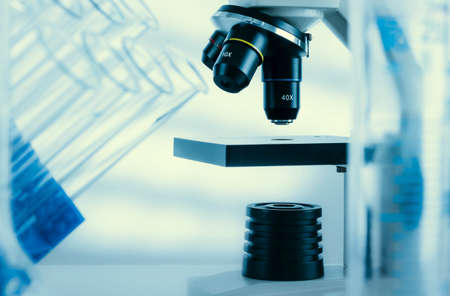 coronavirus: Laboratory microscope lens.modern microscopes in a lab Stock Photo