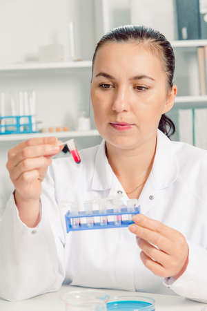 pcr: Concentrated young female scientist holding test tube and looking at it while sitting at her working place.Young female scientist in lab , doing experiments in lab. Stock Photo