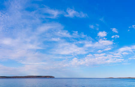 Panoramic view of Comino   from Malta.Sea sunset with colorful cloud.