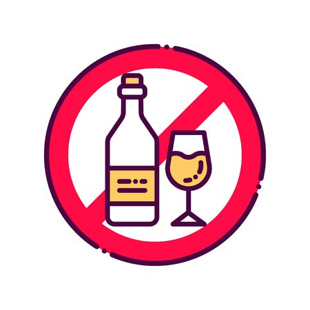 Alcohol allergy line color icon. Beverage intolerance. Non alcohol, sober. Healthy lifestyle. Ilustrace