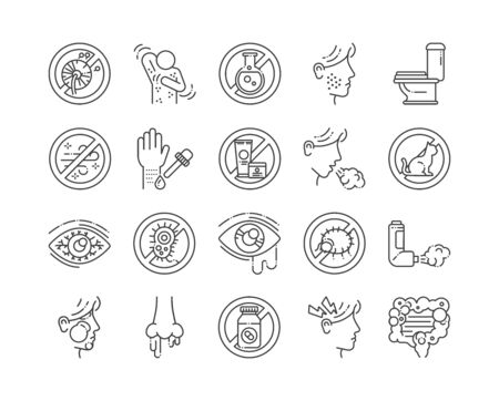 Allergy and symptoms line black icons set. Dermatological, infectious disease.