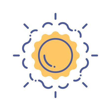 Sun line color icon. Sunny weather.