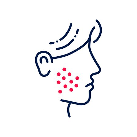 Allergy symptoms line color icon. Skin rash. Dermatological diseases. Itchy spots on face. isolated element. Editable stroke.