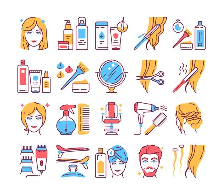 Hairdresser service color line icons set. Professional hair styling. Beauty industry. Pictograms for web page, mobile app, promo. UI UX GUI design element. Editable stroke.