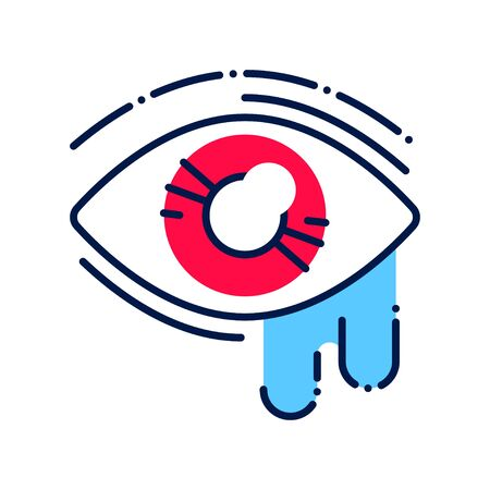 Conjunctivitis line color icon. Infectious diseases. Eye inflammation. Allergy symptoms. Illustration