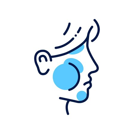 Allergy symptoms line color icon. Face swelling. Specific reaction. Infection, disease. Illustration