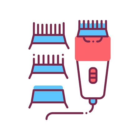 Electrical hair clipper color line icon. Professional device for salon and home use. Barbershop service. Pictogram for web page, promo. UI UX GUI design element. Editable stroke. Illustration