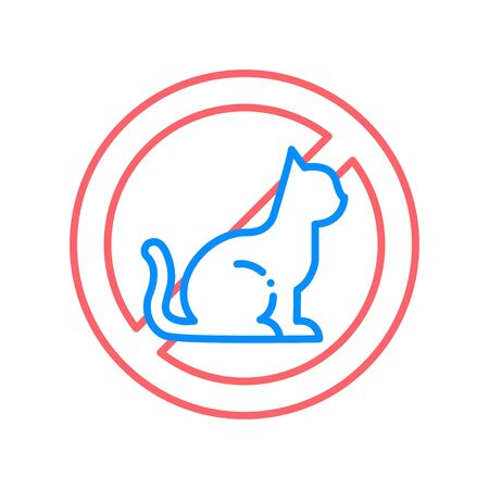 Animal allergy line color icon. Reaction to cat hair. Respiratory disease.