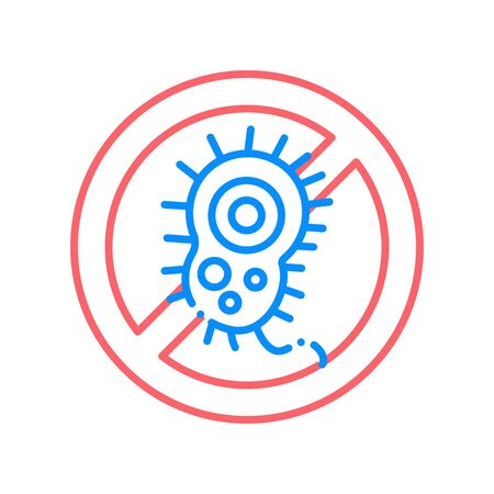 Bacteria allergy line color icon. Anti bacteria symbol and protection infection.