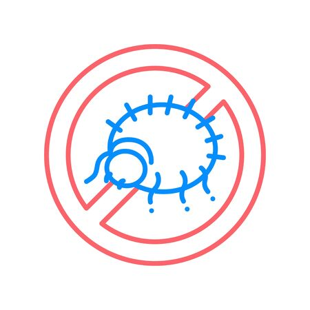Mite allergy line color icon. Pest disinfection. Stop parasitic insects. Illustration