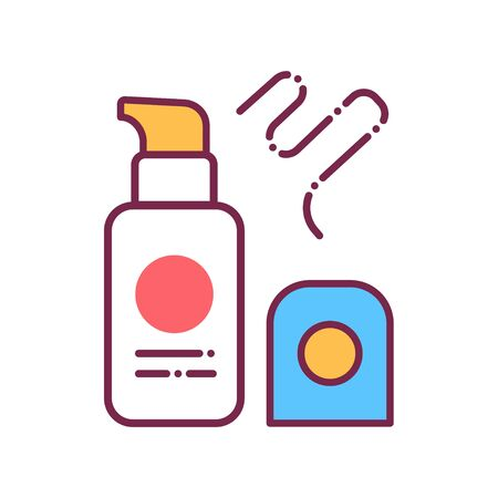 Foundation color line icon. Decorative cosmetics sign. Beauty industry. Professional facial makeup. Pictogram for web page, mobile app, promo. Иллюстрация