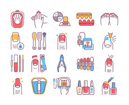 Manicure and pedicure procedures color line icons set. Nails service. Beauty industry. Иллюстрация