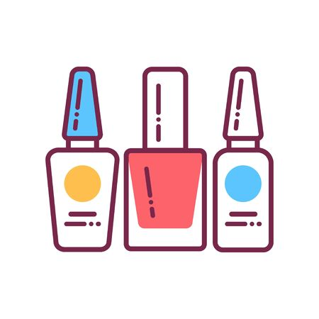 Nail polishes color line icon. Cosmetic product for manicure and pedicure. Nail service. Beauty industry.