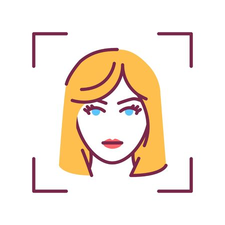 Identification face color line icon. ID and verifying. Authorization person. Biometric security element. Deep face. Scanning technology. Sign for web page, mobile app, banner. Editable stroke.