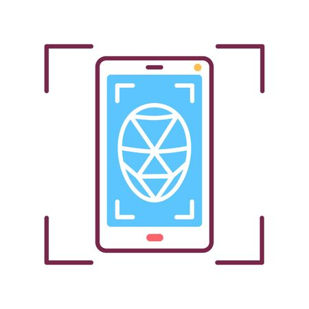 Identification polygonal grid face on smartphone color line icon. Deep face. Scanning app on screen. ID and verifying person concept. Biometric security element. Sign for web page, mobile app.