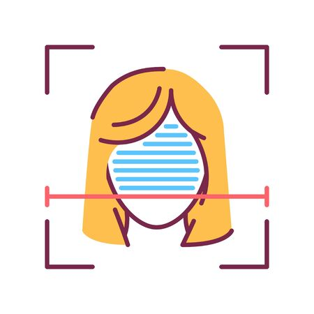 Identification face color line icon. ID and verifying person concept. Biometric security element. Deep face. Scanning technology. Sign for web page, mobile app, banner, social media. Editable stroke.