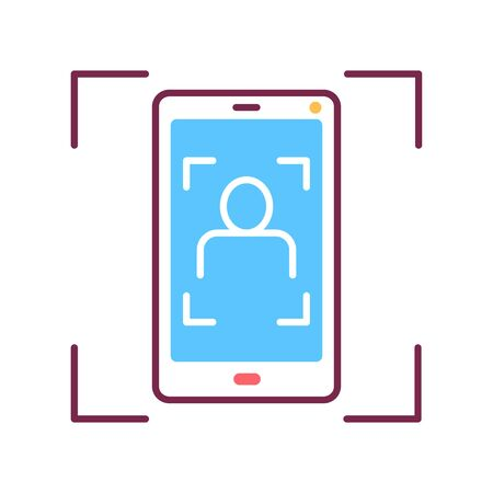 Identification face on smartphone color line icon. Scanning app on screen. ID and verifying person concept. Biometric security element.