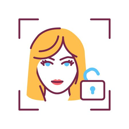 Identification face color line icon. Verification successful. Unlock access. ID and verifying person. Biometric security element. Sign for web page, mobile app, banner. Editable stroke.