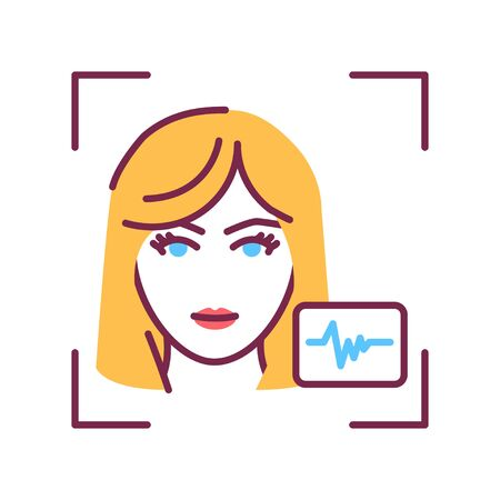 Voice recognition color line icon. ID and verifying person concept. Biometric security element. Scanning technology. Sign for web page, mobile app, banner, social media. Editable stroke. Vectores