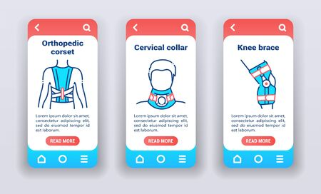 Orthopedic diseases on mobile app on boarding screens. Line icons, corset, posture corrector, cervical collar, knee brace. 일러스트