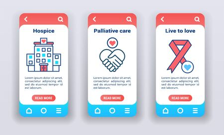 are for people with terminal illnesses on mobile app on boarding screens. Nursing services. Line icons, hospice, palliative care, live to love, AIDs day. Banners for website and mobile kit development Illusztráció