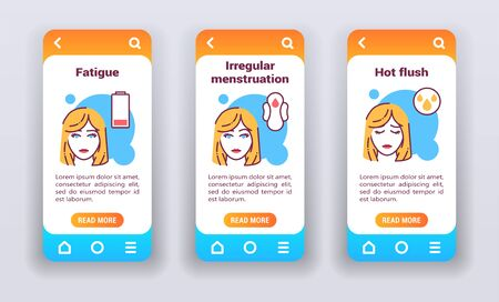 Menopausal symptoms on mobile app on boarding screens. Line icons face young woman blonde with element, fatigue, irregular menstruation, hot flush. Banners for website and mobile kit.