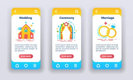 Let's get married on mobile app on boarding screens. Flat icons, wedding, ceremony, marriage. Banners for website and mobile kit development. UI UX GUI template. Çizim