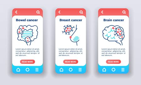 Malignant neoplasm, metastases on mobile app on boarding screens. Line icons, bowel, breast, brain cancer. Banners for website and mobile kit development.