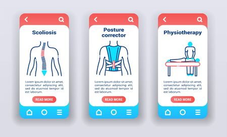 Treating back problems on mobile app onboarding screens. Line icons, scoliosis, posture corrector, physiotherapy. 일러스트