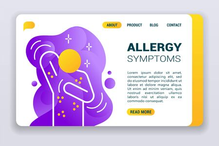Allergy symptoms web banner. Flat illustration isolated line icon person on violet flowing liquid shapes background. Stock Illustratie