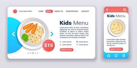 Kids menu web banner and mobile app kit. Order and delivery. Cross platform. Flat vector illustration isolated flat icon, carrots with porridge and soup on plate. UI UX GUI user interface. Ilustração