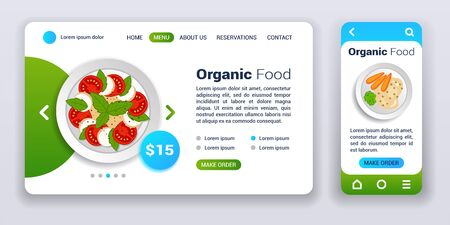 Organic food web banner and mobile app kit. Order and delivery. Cross platform. Flat vector illustration isolated flat icon, diet salad with tomatoes and herbs and carrots with porridge on plate